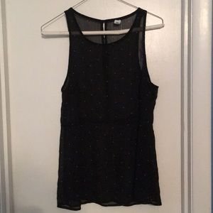 Sheer Black with white polka dots tank - medium